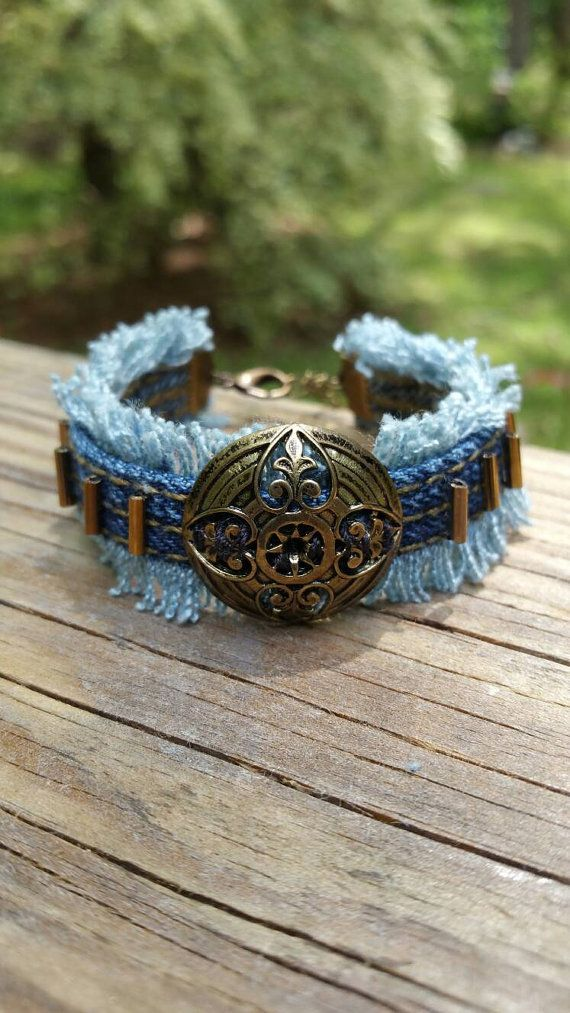Check out this item in my Etsy shop https://www.etsy.com/listing/291256563/upcycled-denim-bracelet-with-glass-beads