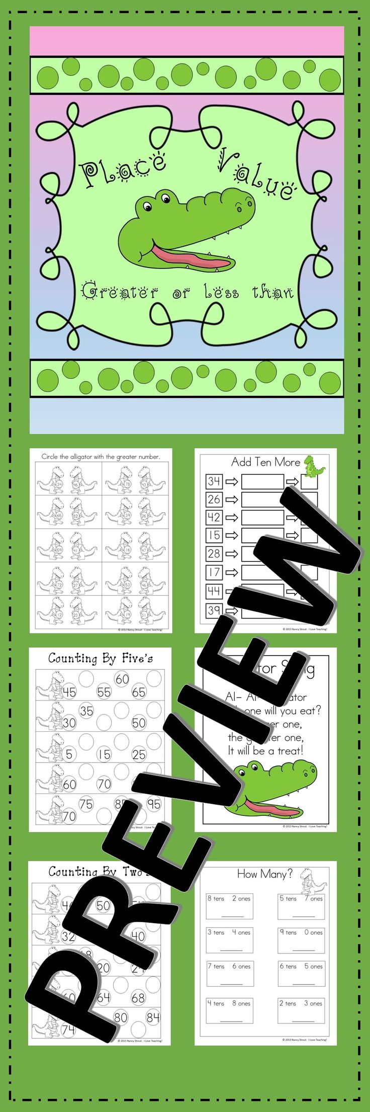 Place Value Greater Than and; Less Than. This Place Value Unit is Common Core Aligned. I have included both a color version and black & white. This packet includes an original place value song, poster, games, printables and more. Place Value Poster Place value poster Spin Ten More Game Write How Many Add Ten More How Many? Comparing Numbers Tic-Tac-Toe Game Counting By Two's Counting By Five's Alligator Number Cards Numerical Order What Comes Before Alligator Song
