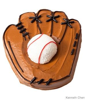 Baseball Birthday Cake Design How to make a catcher's mitt birthday cake with a Sno ball. Step-by-step recipes, designs and color pics of the easiest (and cutest) birthday cakes for boys and girls. @Sue Goldberg Lingley for Kenny.