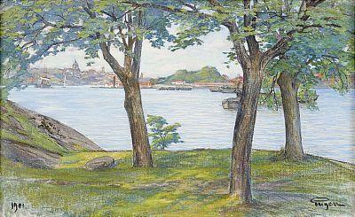 """Ryssviken, Djurgården, 1901. Olja på duk, 65,5 x 106 cm. På baksidan dedikation: """"Till Hålahults sanatorium från Eugen 1945"""""""