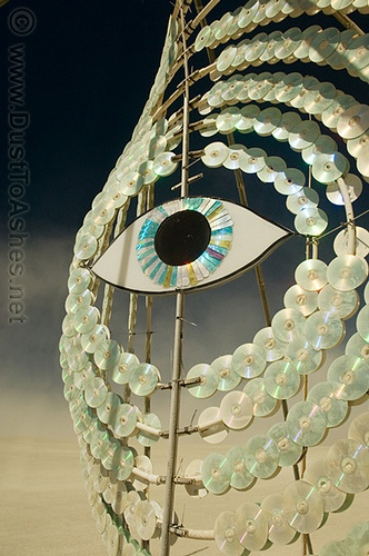 """""""Eye in the sky"""" - Burning Man sculpture made from old CDs"""