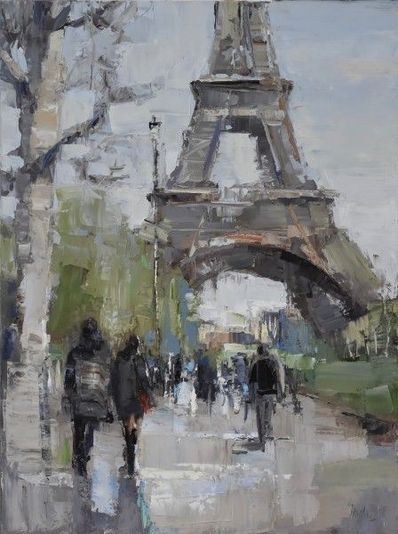 Buy Saturday in Paris on Oil on canvas by Barbara Flowers. Barbara Flowers is from Panama City, FL and is represented by Anne Irwin Fine Art.