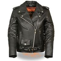 Xelement Women's Full Length Traditional Black Leather Police Jacket
