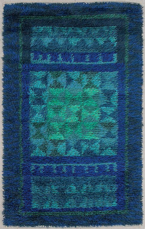 Mid century rya rug Hand knotted Signed dated in weave. Denmark Sweden Finland #Hans