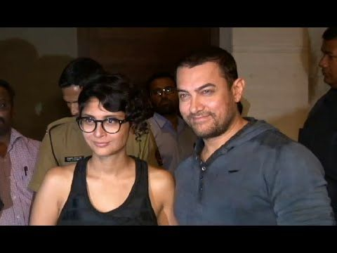 Aamir Khan with wife Kiran Rao at screening of COURT movie.