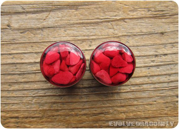 Red Coral Plugs  00g 7/16 1/2 9/16 5/8 3/4 7/8 par EvolveDragonfly