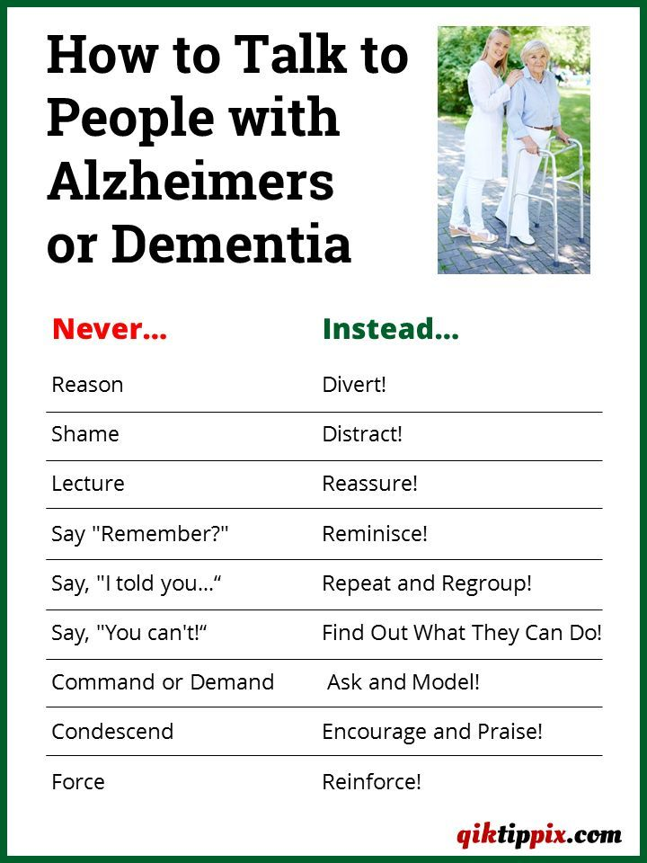 Share this pix with those who have family or friends affected by Alzheimers or dementia. This information is also ideal for caregivers who may not have had training on how to communicate more effectively with those suffering from Alzheimers or dementia.