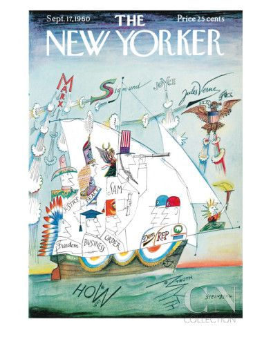 The New Yorker Cover - September 17, 1960 Poster Print by Saul Steinberg at the Condé Nast Collection