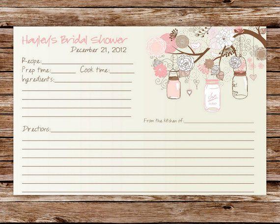 Printable Rustic Vintage Mason Jars Bridal Shower Recipe Card on Etsy, $8.00