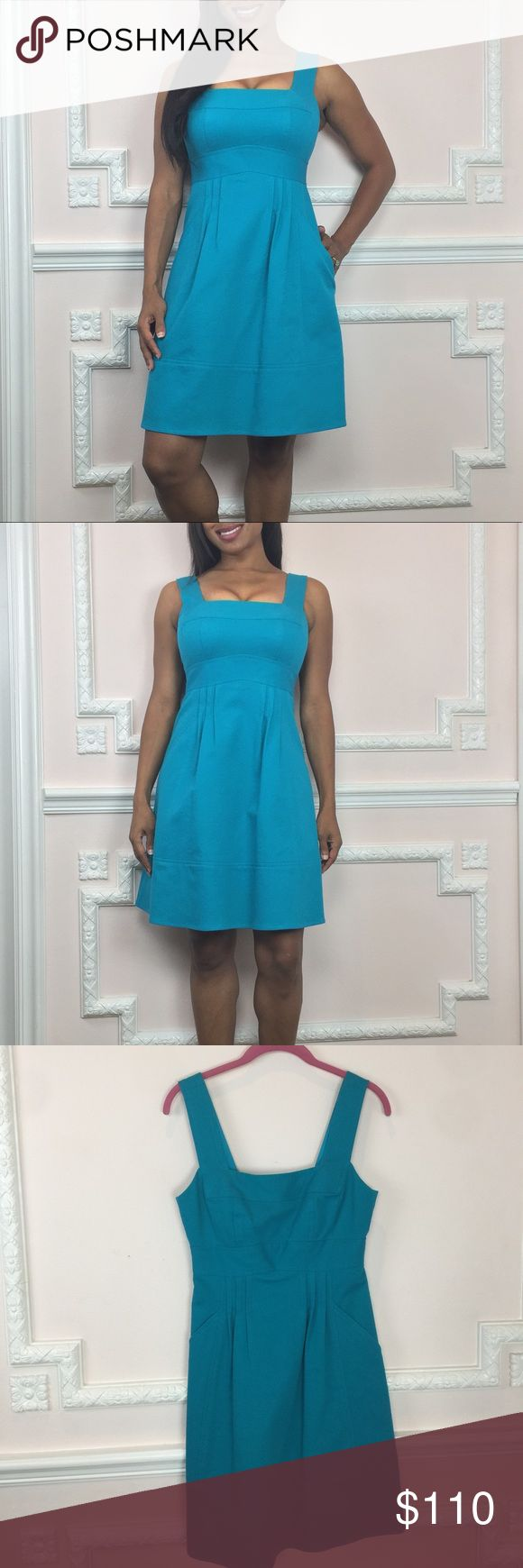 Nanette Lepore dress like new Worn once & like new! Color is an aquamarine blue. Fully Lined. Back zip.Pockets. Sleeveless. Great A line for an easy fit. Textured fabric and darts throughout that lend to the perfect fit. Perfect for a party, going out or just looking cute:) For reference I am 5'2 Measurements (Flat) Length - 26 inches Underarm to bottom hem Bust- 30 inches Waist - 25 Inches Hip- 33 inches Visit and follow my closet for hundreds of styles in all price ranges! Nanette Lepore…
