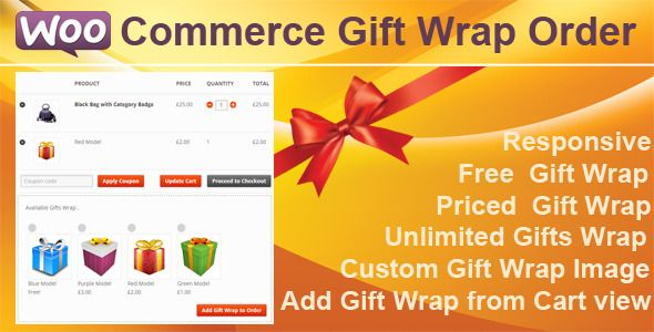 WooCommerce extensions-Gift Wrap offers to your Shop Customers gift wrapping for the orders in your store. You can define as many gift wrapping styles as your prefer, set the price ,different prices or free gift wrapping. You can also add images that shows to your customers what gift wrap they can choose.