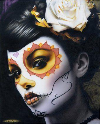 Mexican Death Mask | ... Daniel Esparza Art Tattoo Print Mexican Sugar Skull Death Mask Woman
