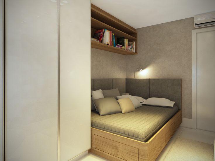 cama casal encostada na parede