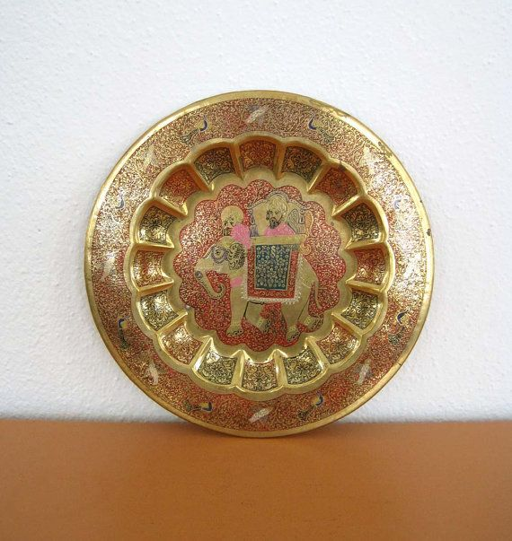 Brass Wall Plates Decor : Vintage indian brass plate wall decor