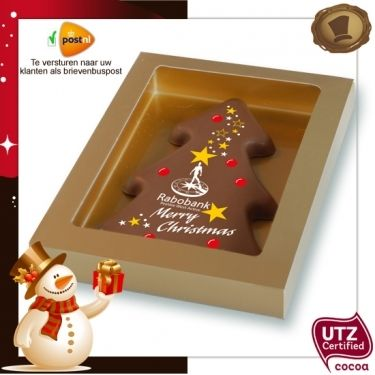 Kerstboom met uw logo / 150 gram  Smaak / Melk of Pure chocolade  Verpakking In de kleur rood, wit of goud. Te bestellen vanaf 200 stuks. #chocolade #kerst #geschenk