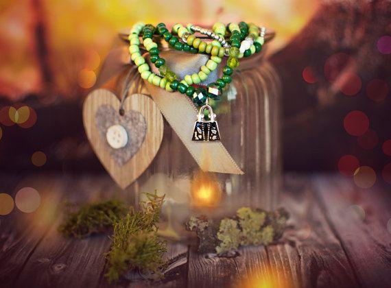Romantic Beaded Bracelet Boho Chic Bohemian Stretch by KatkaCrea