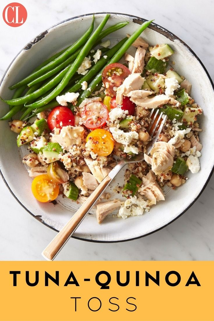 A whole-grain protein bowl is the perfect solution for when lunch needs to be quick--as well as tasty, filling, and healthy, and this Tuna Quinoa Toss fits the bill. Cook quinoa ahead of time (or buy precooked, available in pouches near the rice). To complete the lunch, serve with 1/2 cup steamed green beans.   Cooking Light