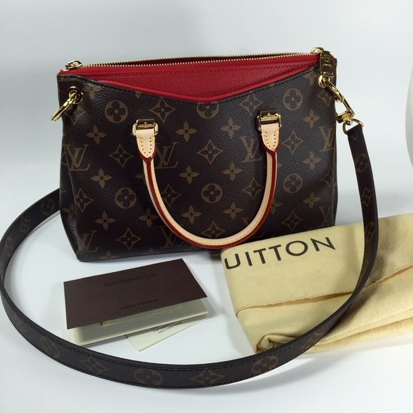 AUTHENTIC Louis Vuitton Pallas BB -Red- BRAND NEW Also newly purchased 2 weeks ago, absolutely never used, barely out of packaging :) This adorable bag includes ALL original accessories, dust bag, shopping bag with red bow and seal. Purchased in Italy, receipt available upon request, but will not ship for the same reason. Bag is made of coated monogram leather, calf leather, and cowhide trim; features gold-metallic pieces, removable shoulder straps, secure double-zip opening, 2 secure…
