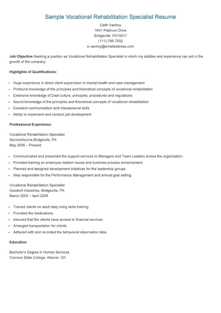 sample vocational rehabilitation specialist resume