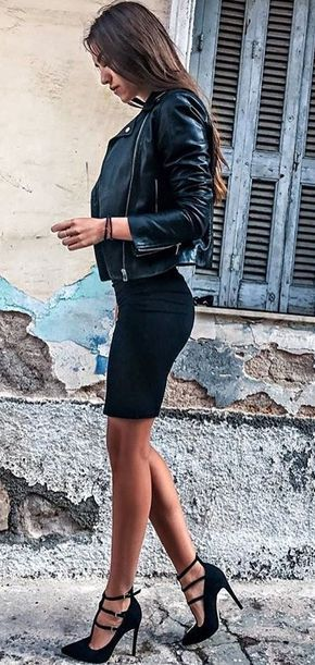 #fall #outfits ·  Pencil Skirt + Leather Jacket + Heels