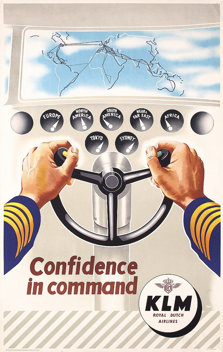 Original 1950s KLM Airline Travel Poster Cockpit
