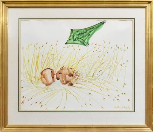 Arthur Boyd (1920 - 1999) - Heads in a Cornfield with Kite, Estimate: AUD2,000 - AUD3,000 Description: Arthur Boyd (1920 - 1999)  Heads in a Cornfield with Kite, c1968  ink and wash  50 x 61cm  signed lower right