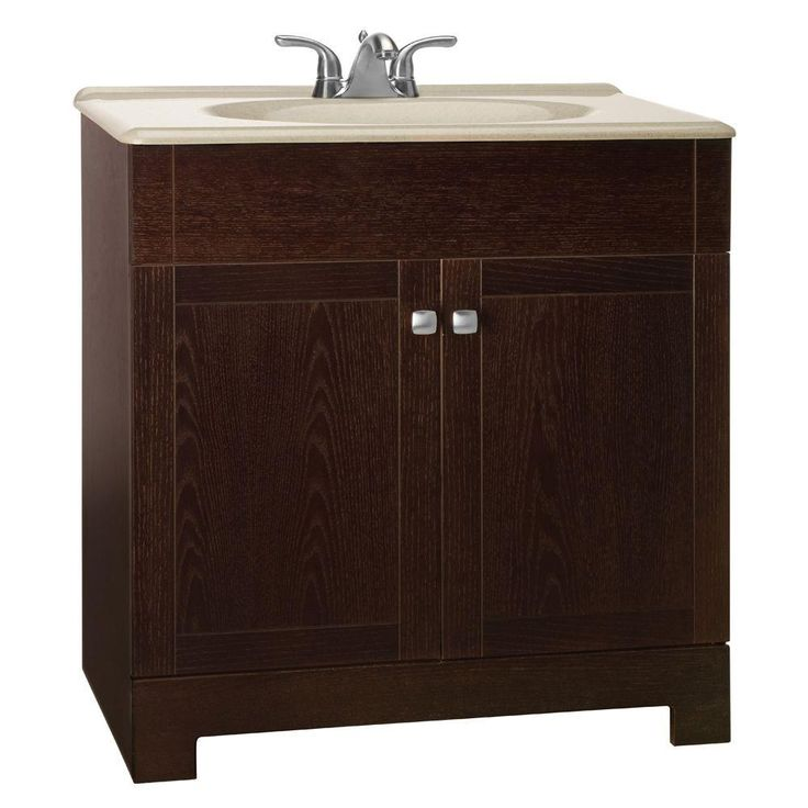 Glacier bay renditions 31 in w vanity in java oak with - Home depot bathroom vanity countertops ...