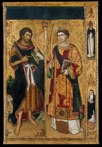 Master of Saint John and Saint Stephen( Active mid-15th century), Saint John the Baptist and Saint Stephen, circa 1450, Tempera, oil and gold leaf on wood, Museu Nacional d'Art de Catalunya