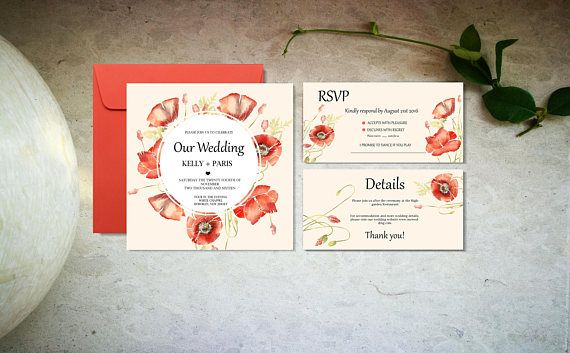 Beige poppies wedding invitation template Red and nude
