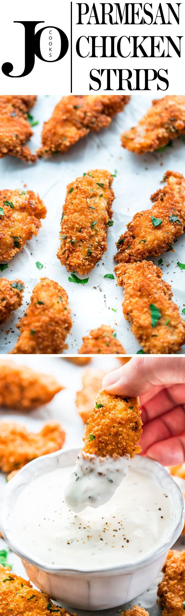 These Parmesan Chicken Strips with Ranch Dressing are extra crispy and super delicious. Say goodbye to restaurant chicken strips and make these at home. They're insanely delicious and they'll disappear from the table in no time!