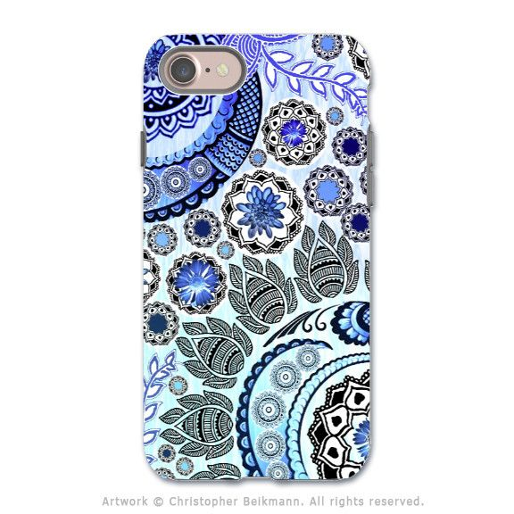 Blue Paisley Mehndi - Artistic iPhone 7 Tough Case - Dual Layer Protection - Blue Mehndi