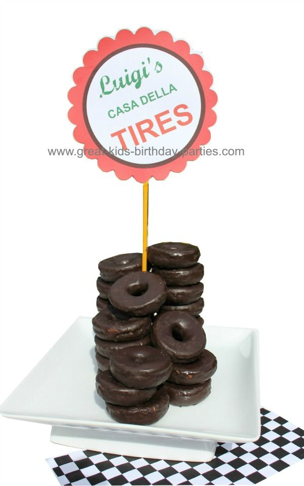 Tire Donuts ~ for car party, place mini donuts on a chopstick or skewer and pile rest of donuts around skewer  [printable sign or customize]