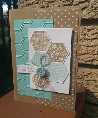 Card - Whisper White, Coastal Cabana, Baked Brown Sugar Ink - Coastal Cabana, Baked Brown Sugar Stamp - Six Sided Sampler Punch - Hexagon Some DS paper from the In-Colour Stack Some twine and a button from stash