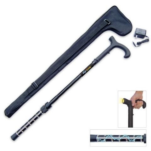 The Zap Self Defense Cane is an adjustable walking cane offered by collectible weapon seller BUDK that features a one-million volt stun gun on its base and a flashlight in its handle. They'll think...