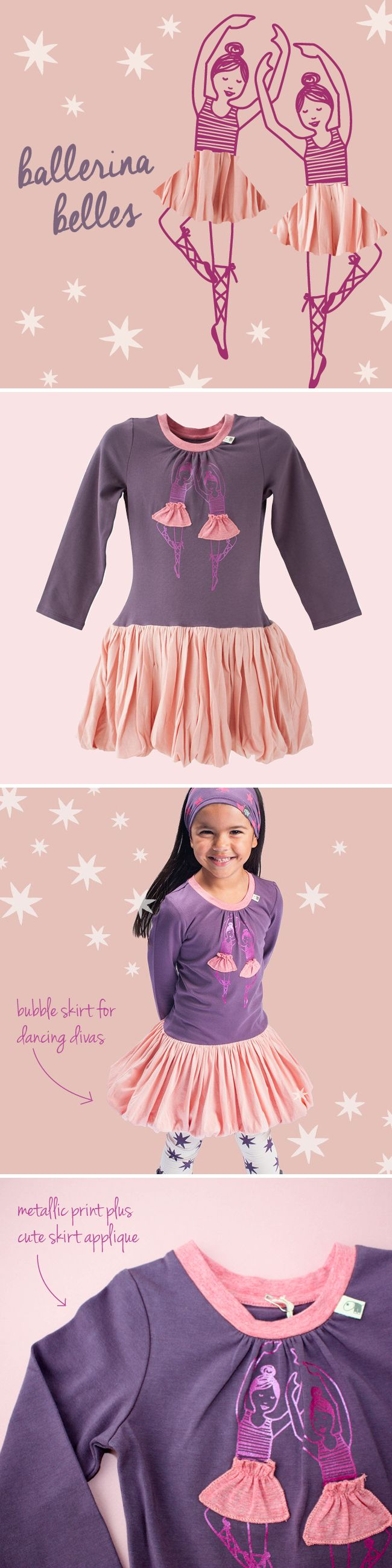Do you know a little dancing queen? The cute bubble skirt and dancing ballerinas detail is perfect for dancing, jiving and having the time of your life in