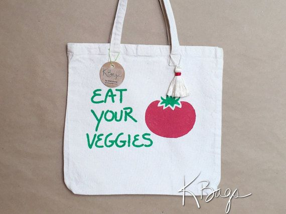 Hand-Painted Canvas Tote Bag  Eat Your Veggies by KristiBags