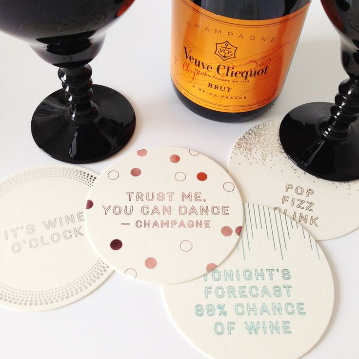 Glamorous coaster set of 8 printed with metallic foils. Get the party started! Cheers!