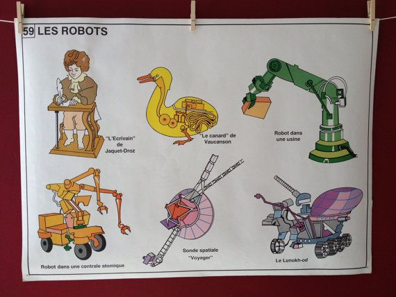 Vintage French Educational Poster of Robots by wafflesandsprout