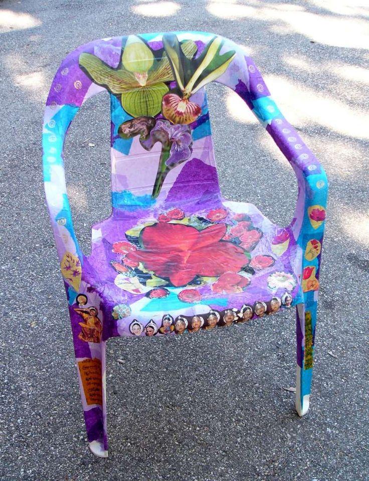 Decoupage su plastica - Sedia in plastica con carta decoupage a fantasia
