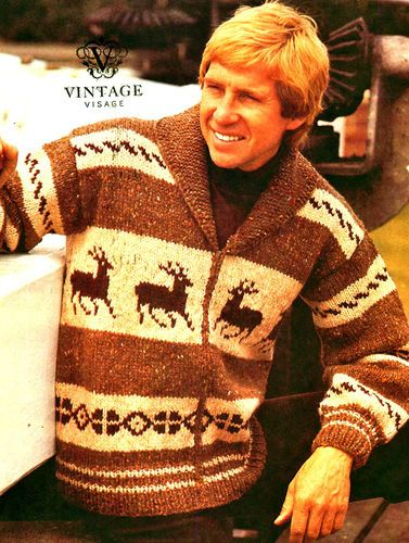 Free Knitting Pattern For Reindeer Jumper : Details about Vintage knitting pattern-make a mens christmas reindeer chunky ...