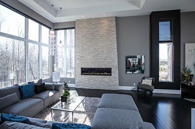 Contemporary living room in grey tones