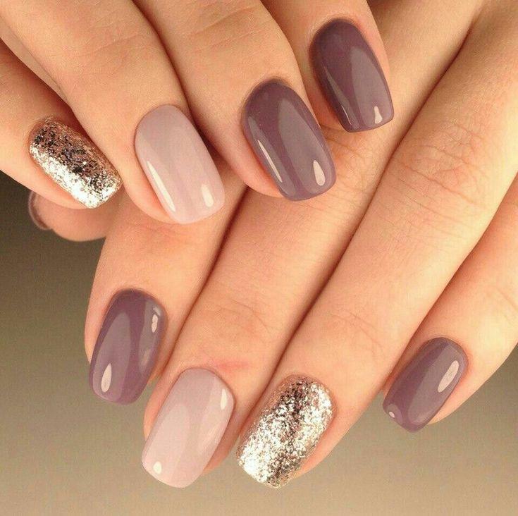 taupe and glitter gold nail polish