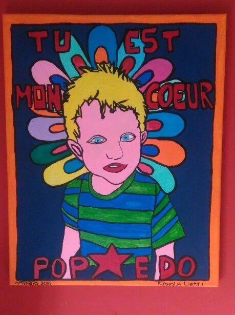 Pop Edo.Tu est mon coeur.Contemporary painting.Fabiola lietti.