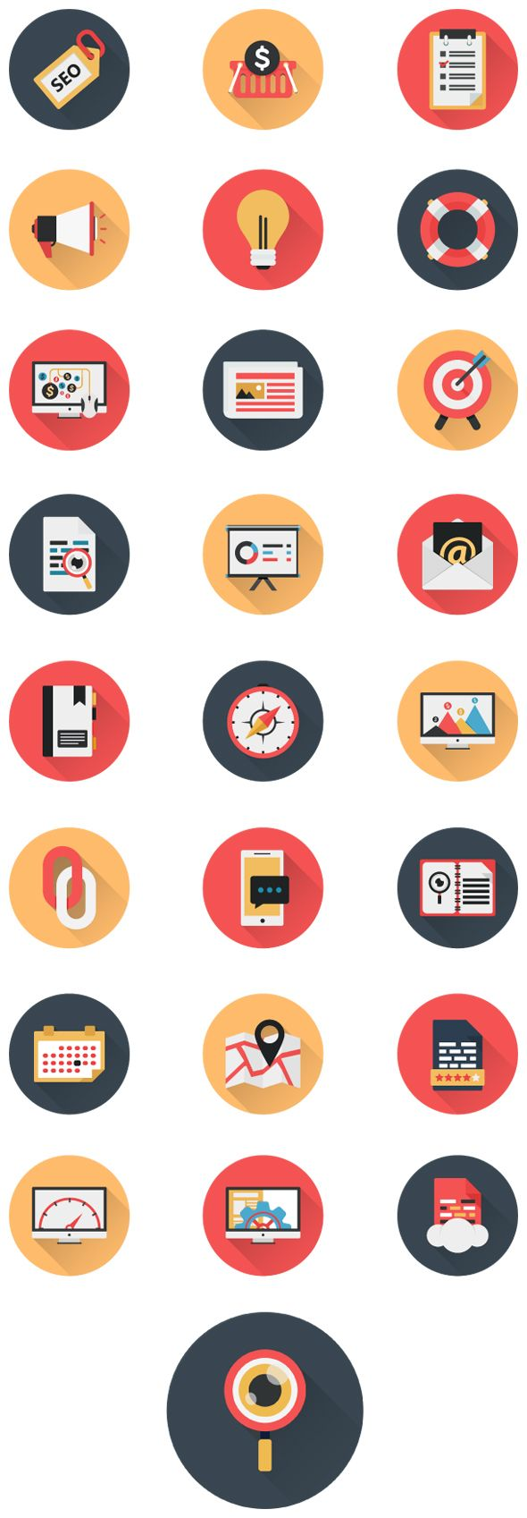 Business Icons and Web Icons Set - Flat Icons.Flat icons design modern vector illustration set of various business , seo , web service items, web and technology development, business management symbol, marketing items and office equipment.Archive includ…