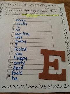 *Bunting, Books, and Bainbridge*: April Fool's spelling test-cute idea!