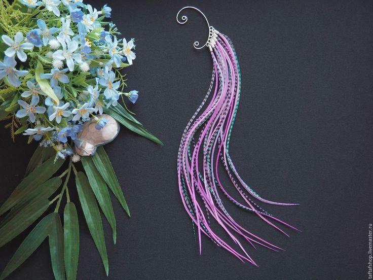 Мыльные пузыри - сиреневый кафф с длинными перьями в стиле бохо - розовый, перья, перо