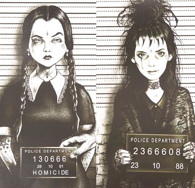 ghostoflalonde:  chloetalksmusic:  Wednesday Addams & Lydia Deetz mugshots by Marcus Jones  Holy shit these are amazing.