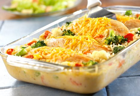 This one-dish wonder features moist, tender chicken breasts covered with melted Cheddar cheese, sitting on a bed of creamy rice and vegetables.
