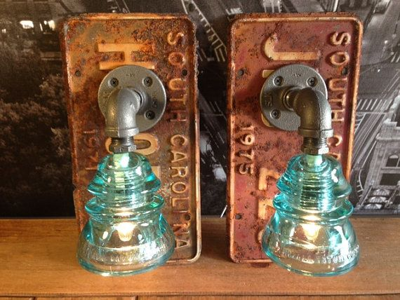 Pair of Industrial Steampunk License Plate Glass by TheVintageBulb