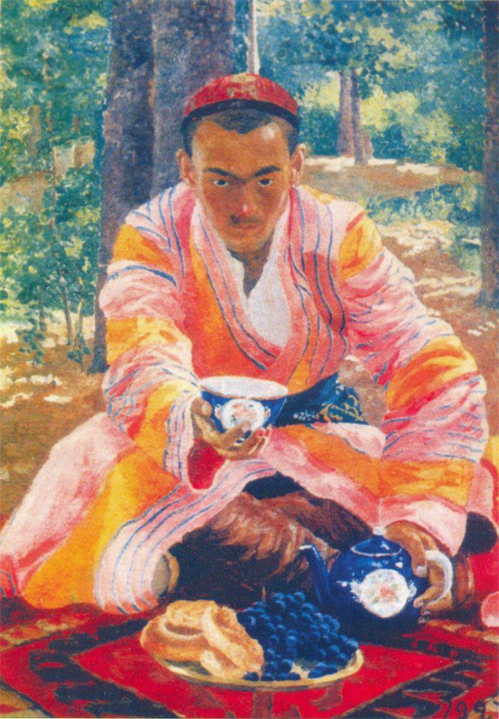 UROL TANSIKBOYEV Portrait of an Uzbek. 1928.